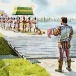 Cortes and Malinche entering Tenochtitlan