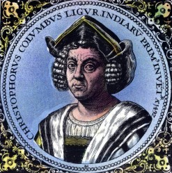 Portrait of Christopher Columbus made on the order of King Ferdinand. 16th century. Later it was stolen and then found in Holland. Theodore De Bry made the engraving