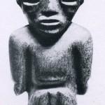 Skulptur eines stehenden Mannes aus grünem Stein. Fundort Teotihuacan. Klassische Periode. Teotihuacan- nacnsTempei aus aem ^TaaT ouerrero Kultur. Etwa 400-800 n. d. Z. Höhe: 12 cm. Münchner Privatsammlung.