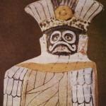 Polychrom bemalte Tonfigur, repräsentiert den Regengott im Federgewande. Herkunft: Hochtal von Mexiko. Klassische Periode, Teotihuacan-Kultur. Etwa 500-800 n. d. Z. Höhe: etwa 14cm. Museo Nacional de Antropologia, Mexiko D.F.
