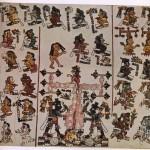 """Linke Hälfte der Seite 37 des Codex Vindobonensis Mexicanus 1. Sie zeigt wie die Vorfahren der mixtekischen Adelshäuser aus einem Baum in Apoala (Mixteca Alta) hervorkamen. Links und rechts des mythischen Baumes stehen mit Obsidianmessern in ihren Händen """"7 Adler"""" und """"7 Regen"""". Die oben und im linken Streifen abgebildeten Personen sind mit den Schriftzeichen ihrer Kaiendernamen bezeichnet. (Vergl. Abb. 109.) Her¬kunft: Mixteca Alta Mixtekische Kultur. 14. Jahrhundert. Größe des Ausschnitts: 18 cm mal 22,2 cm. Nationalbibliothek, Wien"""