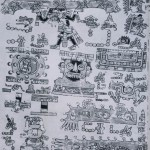 """Linke Hälfte der Seite 47 des Codex Vindobonensis Mexicanus 1. (Die Numerierung durch arabische Ziffern erfolgte erst durch die Europäer.) Diese mixtekische Bilderschrift wurde vermutlich schon von Cort6s mit nach Europa gebracht. Die Deutung dieser piktographischen Schriften - die einzigen originalgeschichtlichen Quellen aus dem vorspanischen Amerika - stoßen auf Schwierigkeiten und können nur durch Parallelen in anderen Quellen, die kurz nach der Eroberung mündlich überliefert wurden, oder durch Vergleiche mit verwandten Bilderschriften überprüft werden.  Der Codex Vindobonensis enthält eine geheiligte Bilderfolge, die sich über 52 Seiten erstreckt. Die Rückseite war ursprünglich leer gelassen. Die auf Hirschleder gemalte Bilderfolge berichtet über die Urzeit, die Ent¬stehung der Götter sowie die Entstehung des mixtekischen Adels (vgl. Farbabb. 106). Sie gibt Anweisungen über Kulthandlungen und eine Genealogie der mixtekischen Herrscher zwischen 720-1350.  Auf der abgebildeten Seite wird ein mythisches Thema beschrieben. Nach dem Zusammenbruch einer der vor¬hergegangenen Welten hebt Quetzalcoatl """"9 Wind"""" den eingestürzten Himmel aus dem Wasser empor (Figur oben). Es geschieht in der Nähe des Regengottberges (Tlatoc-Darstellung im Zentrum). Unten links bedroht ein Erdungeheuer das im Wasser sitzende Ollin-Figürchen.  Herkunft der Bilderschrift ist die Mixteca Alta, vermutlich die Gegend von Tilantongo. Mixtekische Kultur, 14. Jahrhundert.  Größe des Ausschnitts: 22 cm x19,5 cm. Nationalbibliothek, Wien."""