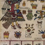 """Seite aus dem Codex Borbonicus, zeigt Tezcatlipoca als """"Kostbaren Truthahn"""" (Chalchiuhtotlin), der die Sterne in die Dämmerung treibt. Er behütet eine kostbare Vase mit Pulque. Hinter dem Stern der Dunkelheit (Polarstern) ist Piltzintecuhtli (Merkur) als junger Priester, der sein Blut und Gold opfert, dargestellt. Eine Regenbogenschlange, Symbol der Sünde und Unsicherheit, umgibt ihn.  Oben sind die Opfergaben für Tezcatlipoca abgebildet: die enthauptete Wachtel, das Opfer bei Sonnenauf¬gang, darunter Banner und Bänder von getöteten Kriegern in einer Schale und rechts daneben, ebenfalls in einer Schale, die Herzen der geopferten Krieger. Das Kaninchen, ein Symbol für Feiglinge, sowie eine Schale mit sprießenden Maispflanzen oder narkotischen Pilzen, zählt ebenfalls zu den Opfergaben. In der Reihe unter Tezcatlipoca (v. I. n. r.) sind die Gaben der Gottheit aufgezählt: eine Schale Gold, Dornen für Selbstkastei¬ungen auf einem Stein liegend. Der Erfolg im Krieg ist ausgedrückt durch einen brennenden Tempel, schräg darüber, in einem weißen Gefäß, die Früchte der Erde, und darunter ein Pulque-Gefäß mit klarem Wasser.  Unten sind in quadratischen Feldern vier von den dreizehn Omen-Vögeln und vier Götter der Unterwe abgebildet.  Die Bilderhandschrift ist vermutlich in Tenochtitlan kurz vor der Eroberung entstanden. Eine nachträglich Eintragung in lateinischen Lettern und spanischer Sprache besagt: """"Die hier geboren wurden, mußten arr sein."""" Das """"Buch der 260 Tage"""" (tonalamatl) befaßt sich mit der Wahrsagekunst und den rituellen Zeremonie für die Götter, die das Patronat über die verschiedenen Tage und Perioden übernommen hatten. Man sah di guten sowie die schlechten Tage voraus und bestimmte danach das Schicksal der Neugeborenen. Fiel der Ta; der Geburt ungünstig, so wurde das Fest der Namensgebung verschoben und ein günstiger Tag abgewartel Seit 1826 befindet sich die Bilderschrift in der Bibliothek der Deputiertenkammer in Paris.  Späte aztekische Kultur. Etwa 1490-1521"""