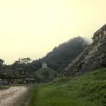 View of El Palacio (The Palace) and Templo de las Inscripciones (Temple of Inscriptions). Palenque