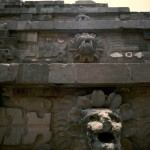 This view of the stepped front facade of the Quetzalcoatl Pyramid. Teotihuacan